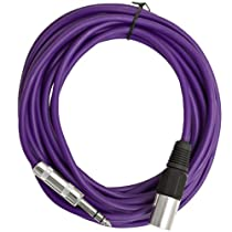 Seismic Audio - SATRXL-M25Purple - 25 Foot Purple XLR Male to 1/4 Inch TRS Patch Cable Snake Cords - Balanced