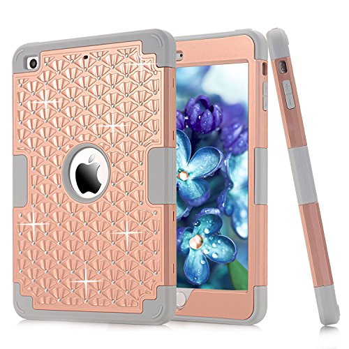 iPad Mini Case, iPad Mini 2 Case,iPad Mini 3 Case, High Impact Defender Shockproof Case For iPad Mini/ iPad Mini 2/ iPad Mini 3(Rose Golden/Grey) (Marvel Ipad 2 Case compare prices)