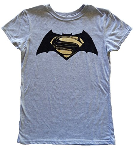 Dawn of Justice Gold Foil Superman and Black Batman Logo Juniors Grey T-shirt XL (Super Hero Tee Shirts For Women compare prices)