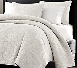 Multiple Sizes - Oversized-3pc Quilted Coverlet Set- White -King - Exclusively by Blowout Bedding RN# 142035