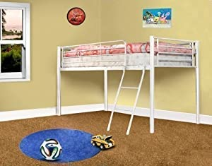 Kids Metal Bunk Bed Mid Sleeper Cabin White Single Bed Frame 3ft New