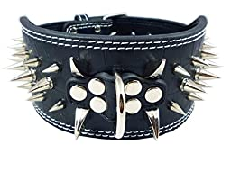 Dogs Kingdom Black Faux Croc Leather Spiked Dog Collar 3\
