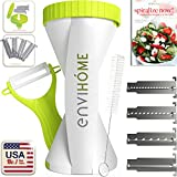 New & Updated 4-in-1 enviHome Zoodle Maker Vegetable Spiralizer | The Best Selling 4-Blade Spiral Veggie Slicer | Ultimate Zucchini Noodle Pasta Cutter Redesigned W/ New Lid & Easy Blade Removal Grip