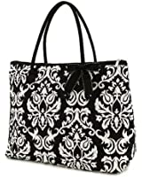 Belvah Black & White Quilted Damask Large Tote Bag
