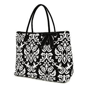 Belvah Quilted Damask Print Large Tote Bag - Black & White (18 x 14.5 x 7)