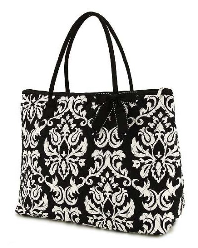 Belvah Quilted Damask Print Large Tote Bag – Black & White (18 x 14.5 x 7)