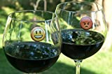 Emoji Wine Charms - Magnetic Glass Drink Markers Set of 8, Fun Way to Identify Regular or Stemless Glasses, for You and 7 Drinking Buddies by Simply Charmed
