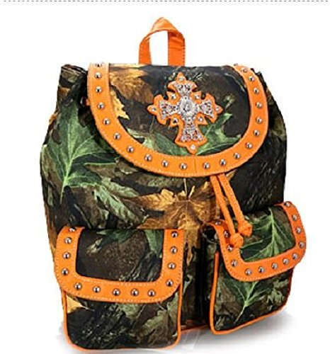Camo Camouflage Rhinestone Cross Western Backpack