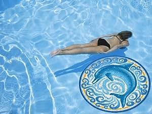 "Single Dolphin Pool Art Size: 47"""
