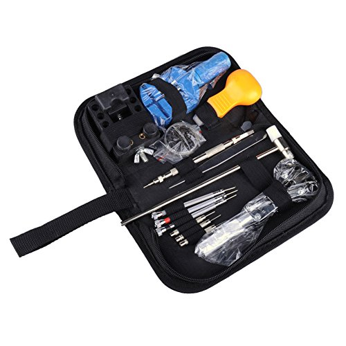 [Watch Repair Tool Kit, OFTEN® 16Pcs Watch Repair Tool Kit Set Opener Link Remover Spring Bar Hammer With Carrying] (Link Deluxe Adult Kit)