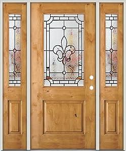 Half Lite Knotty Alder Wood Entry Door with Sidelites #