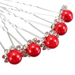 5X Wedding Bridal Lady Crystal Rhinestone Pearl Flower Hairpins Hair Pin Clips