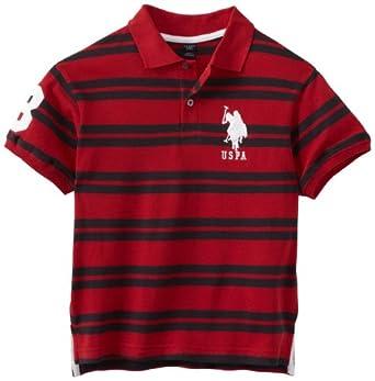 U.S. Polo Assn. Big Boys' Striped Polo, Barn Red, 14-16