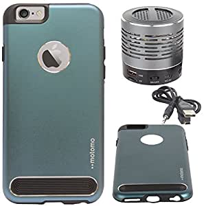"""DMG Motomo Ultra Tough Metal Shell Case with Side TPU Protection for Apple iPhone 6 (4.7"""") (Gun Metal) + Wireless Bluetooth Speaker with Party LED Lights"""