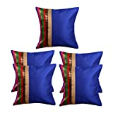 MeSleep Blue Stripe Brocade Cushion Cover - Set Of 5