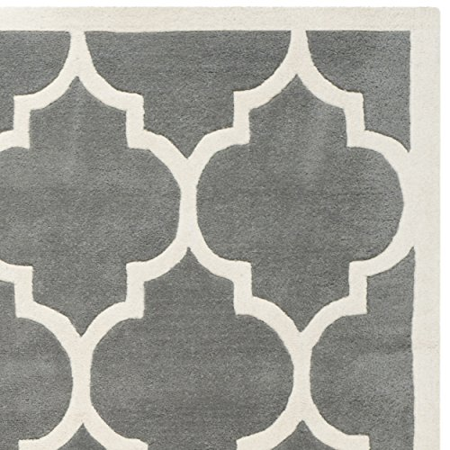 Safavieh Chatham Collection CHT734D Handmade Dark Grey and Ivory Wool Area Rug, 8 feet by 10 feet (8' x 10')