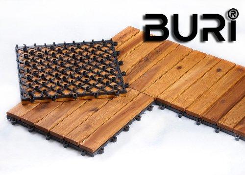 Holzfliesen Terrassenfliesen 1 Qm 11 Stück Baubedarf