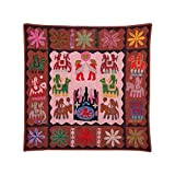 Rajrang Home Décor Embroidered Patch Work Coral Pink Wall Hanging - B00TQRL3OK