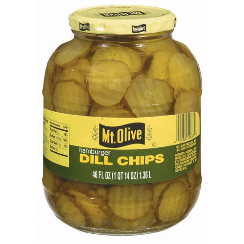 Mt. Olive Pickles 46oz Glass Jar (Pack of 4) Select Flavor Below (Hamburger Dill Chips) (Jar Of Dill Pickles compare prices)