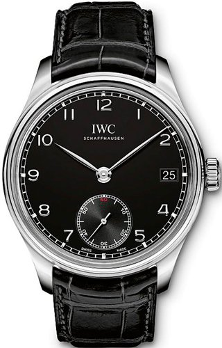 IWC Portuguese Hand Wound Eight Days Black Leather Mens Watch IW510202