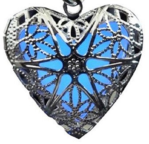 Womens Glow in the Dark Heart Locket Necklace Steampunk Style Nice Necklace for Girls