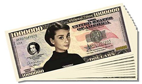 Audrey Hepburn Million Dollar Bill - 10 Count with Bonus Clear Protector & Christopher Columbus Bill - 1