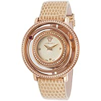 Versace Vfh08-0013 Venus Diamond Beige Genuine Lizard Champagne Dial Rose-Tone Ss Women's Watch