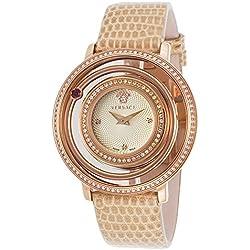 Versace Vfh08-0013 Venus Diamond Beige Genuine Lizard Champagne Dial Rose-Tone Ss Women's Watch