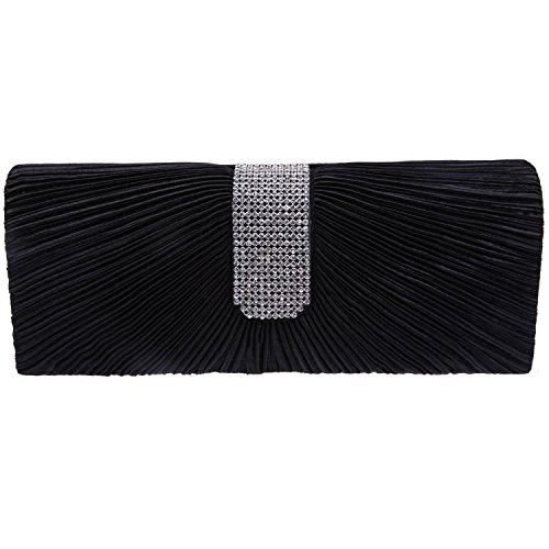 ILISHOP Women's Pleated Satin Clutch Rhinestine Crystal Baguet Evening Handbag Purse (Black)