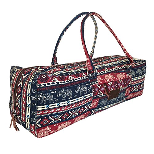 Yoga Mat Duffel Bag Carrier Patterned Canvas with Pocket and Zipper (Karma) (Yoga Mat Bag Extra Large compare prices)