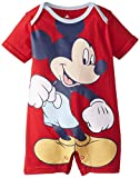 Disney Baby Baby-Boys Newborn Disney Mickey Mouse Adorable Boy Romper, Red, 0-3 Months