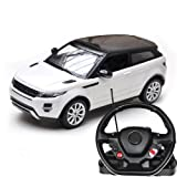 Children Original Licensed Kids Ride Remote Control Cars R/C 1:14 Range Rover Evoque With Steering Wheel - White