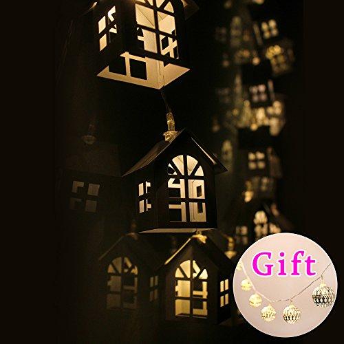 Batteriebetriebene 20 warmes Weiß LED Lichterkette ~ 2.5M Kreative White Metal Haus Stile - Ideal Hochzeit, Weihnachten und Partei-Schnur-Licht