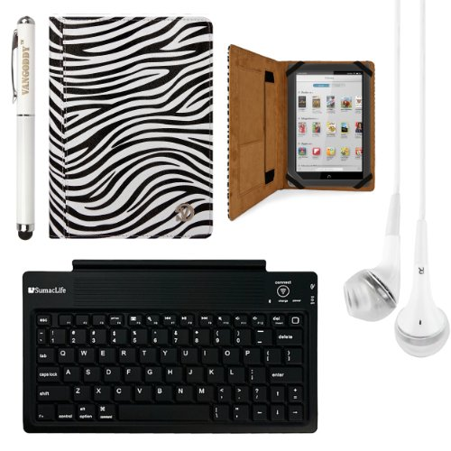 "Mary Portfolio Case W/ Handstrap & Kickstand For Acer Iconia A1-810 / A1-830 / A1-811 / A1-840 / A2-810 / A5-810 / W4-820 8"" Tablets Tablet + Bluetooth Keyboard + Laser Stylus Pen + White Headphones (Zebra)"