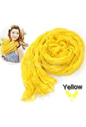 Yellow Women's Long Crinkle Scarf Wraps