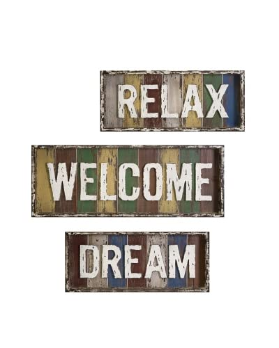 Set of 3 Bingham Relax, Dream and Welcome Wall Décor