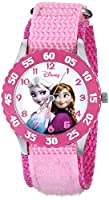 Disney Kids' W000970 Frozen Anna Snow Queen Stainless Steel Watch with Pink Nylon Band by Disney