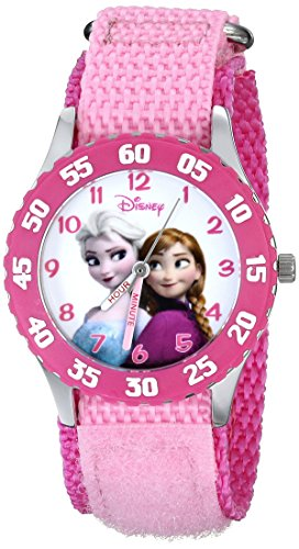 Disney Kids' Frozen Anna Snow Queen Stainless Steel Watch with Pink Nylon Band JungleDealsBlog.com