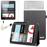 BIRUGEAR SlimBook Leather Folio Stand Case w/ Keyboard Screen Protector for Nextbook Premium 8HD (NX008HD8G) - 8