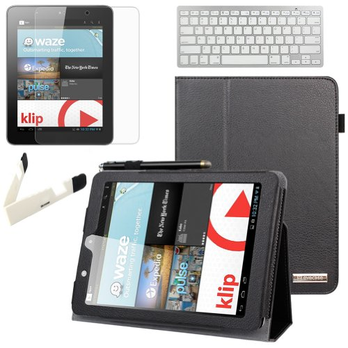 Birugear Slimbook Leather Folio Stand Case W/ Keyboard, Screen Protector For Nextbook Premium 8Hd (Nx008Hd8G) - 8'' Tablet [June 2013 Walmart Release By E-Fun] ( Black)
