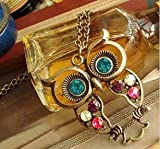 Classical Style Colorful Crystal Diamond Owl Design Necklace/Sweater Chain