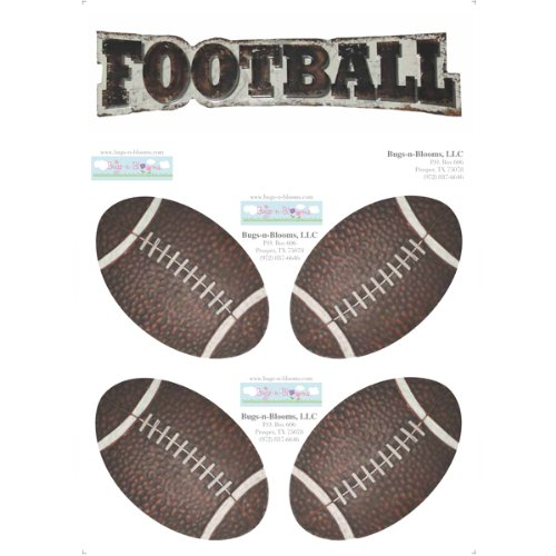 Football Decal Stickers Boys Sport Theme Boy Wall Graphics Removable Vinyl Mural Sticker Decals Children Nursery Baby Room Decor Kids Bedroom Walls Decorations Footballs Balls Sports Childs Murals Art (Football Clings compare prices)