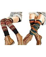 V28® Women Lady Fashion Knee High Leg Winter Bohemian Knit Crochet Leg Warmer