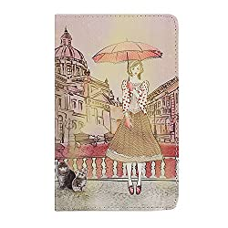 IKASEFU(TM) Cute PU Leather Protective Folding Flip Folio Cover Case with Stand for Samsung Galaxy Tab 3 Lite 7.0 SM-T110 Tablet (The Umbrella Girl)