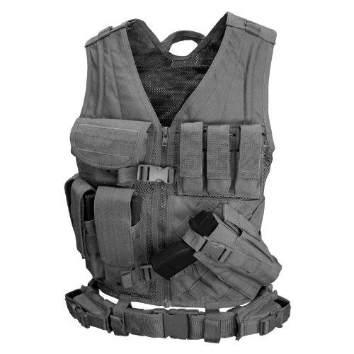 Condor Cross Draw Vest/Tactical Belt (Black, Medium/Large)