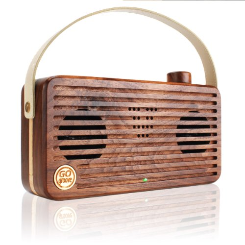 Gogroove Universal Retro Wood Bluetooth Speaker Bluesync Wud With Wireless Nfc Technology , Integrated Microphone And Portable Carry Handle - Works With Apple , Samsung , Lg , Htc , And Sony Smartphones , Tablets And Mp3 Players