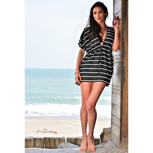 a4ee0a51c2 MG Collection® Black   White Striped Swimsuit Cover Up   Drawstring Beach  Dress
