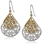 1928 Jewelry Two-Tone Vine Filigree Teardrop Earrings