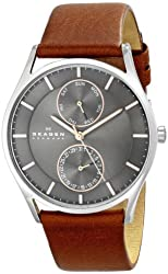 """Skagen Men's SKW6086 """"Holst"""" Stainless Steel Watch with  Brown Leather band"""