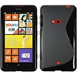 Custodia in Silicone per Nokia Lumia 625 - S-Style nero - Cover PhoneNatic + pellicola protettiva